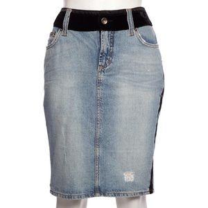 Dolce & Gabbana Denim Velvet Trim Pencil Skirt
